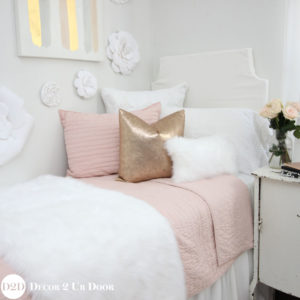 Blush, Rose Gold & Fur Dorm Bedding
