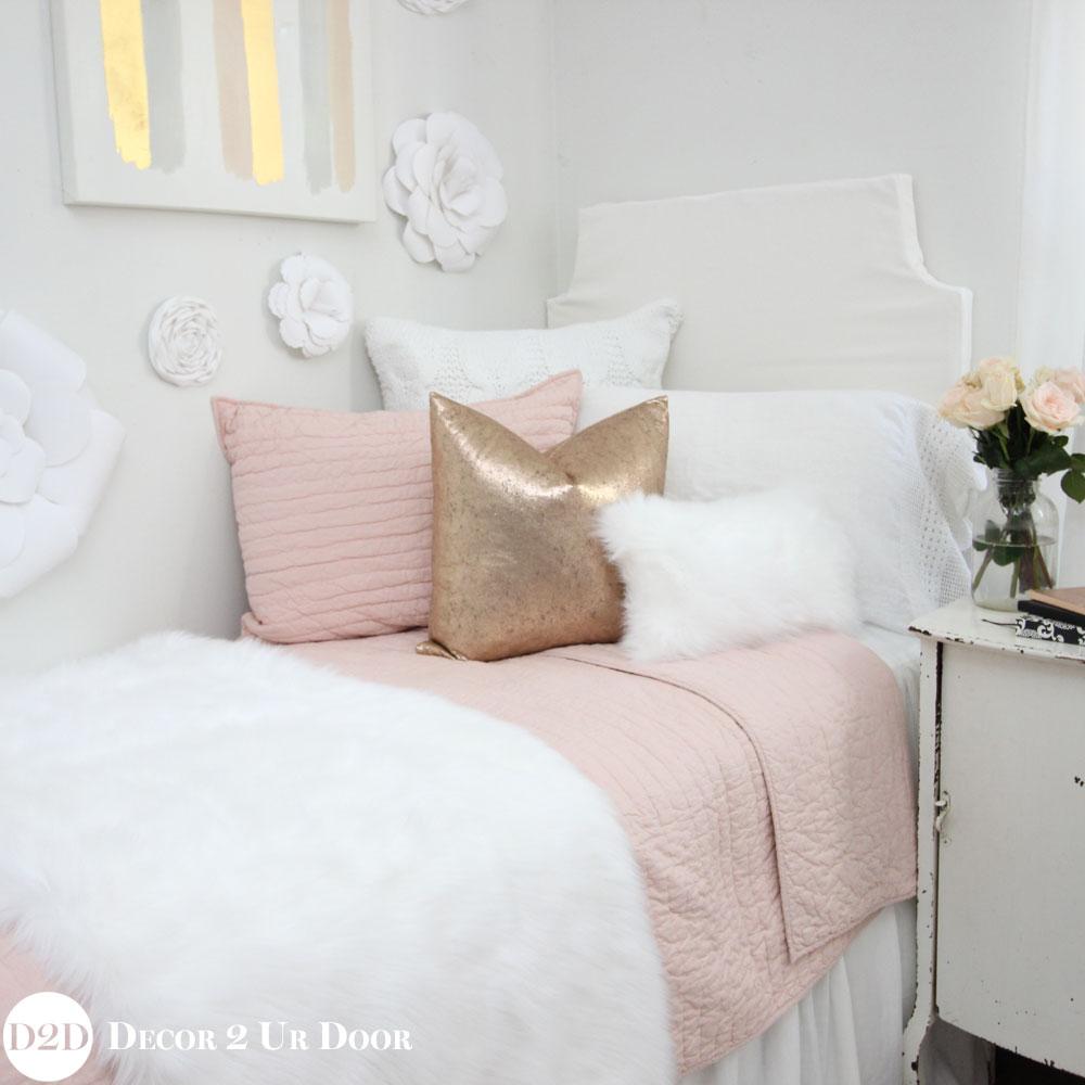Blush, Rose Gold & Fur Dorm Bedding