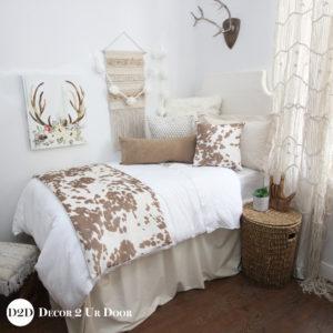 Ivory & Tan Cowhide Dorm Bedding Set