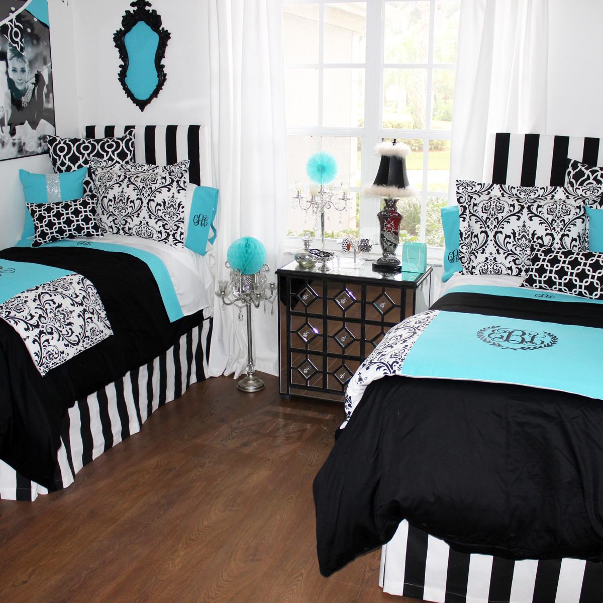 Tiffany Blue and Black Bedding
