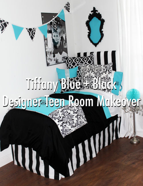 Tiffany Blue and Black Designer Teen Room Makeover